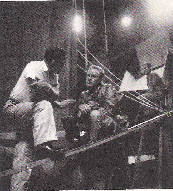 On the soundstage with main mutineer Van Johnson during The Caine Mutiny (1954)