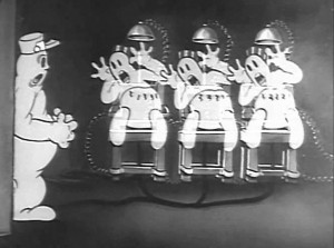 Electrocuted ghosts in Minnie the Moocher (1932).